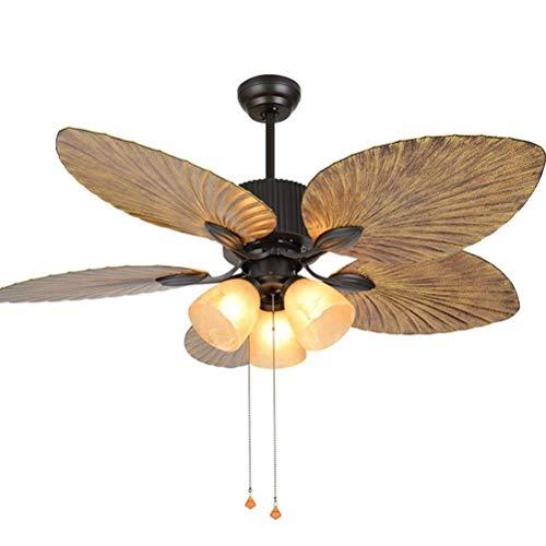 LAZ Ceiling Fan Lamp Vintage Tradition Maple Leaf Fan Chandelier Led Lights Fixture Ceiling Light Remote Control Silent Motor for Living Room Bedroom Restaurant Study Room (Size : 42inch)