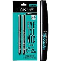 Lakme Eyeconic Kajal Twin Pack, Black, 0.35g with 0.35g & Lakme Eyeconic Lash Curling Mascara, Black, 9ml
