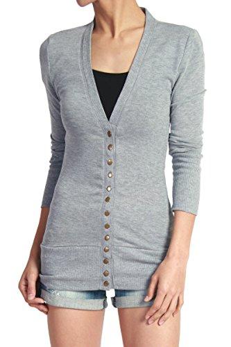 TheMogan Women's Snap Button V-Neck Long Sleeve Knit Cardigan Heather Grey S
