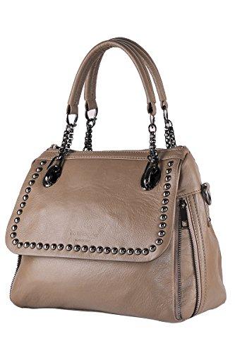 in 100 cuir sac BORDERLINE Made JESSICA en avec boutons Exclusif Italy Tourterelle véritable souple Femme SExdxq