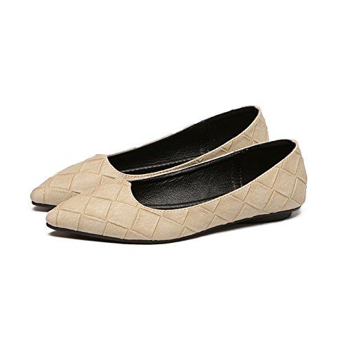 Zapatos Delgada Vídeo 4 Xue Zapatas Punta Zapatos Simple Plano Mujer Calzado Plana Beige con de de Solo Satén de luz Qiqi de 7Aaqwf