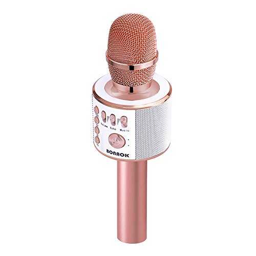 BONAOK Magic Sound & FM Wireless Bluetooth Karaoke Microphone 5-in-1 Portable Speaker Machine for Android/iPhone/iPad/Sony/PC or All Smartphone(Rose Gold) by BONAOK