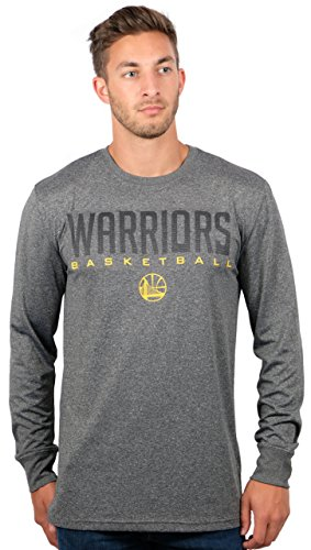fan products of NBA Men's Golden State Warriors T-Shirt Performance Long Sleeve Pullover Tee Shirt, Large, Gray