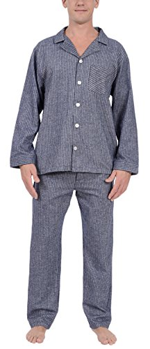 Platinum Stripe (Platinum Men's Flannel Pajama Set (Blue Stripes, S))