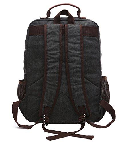 Super moderno vintage lienzo mochila mochila para portátil/escuela/senderismo/al aire libre Casual daypacks Colegio Bolsa, Bolsa de ordenador portátil bolsa de oso, hombre, café negro