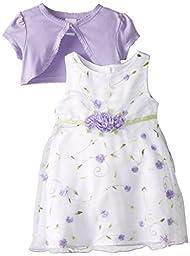 Youngland Baby Girls\' Purple Schiffli Dress with Knit Shrug, White/Purple, 6-9 Months