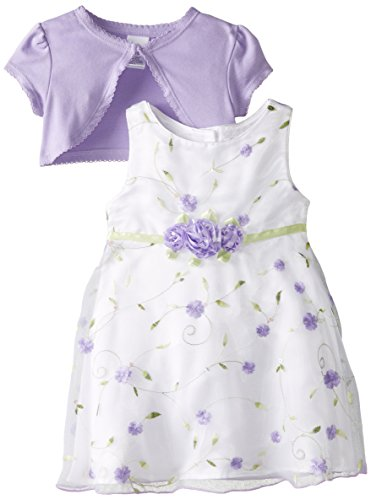 [Youngland Baby Girls' Purple Schiffli Dress with Knit Shrug, White/Purple, 6-9 Months] (Baby Easter Dresses)