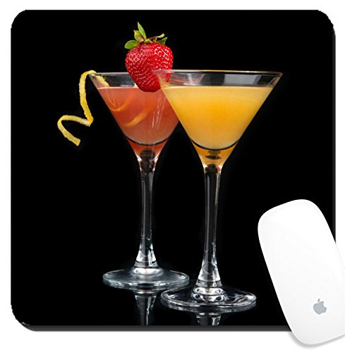 Luxlady Suqare Mousepad 8x8 Inch Mouse Pads/Mat design IMAGE ID 30862229 Two cocktails red cosmopolitan cocktail decorated with citrus lemon twist and yellow martini - Cosmopolitan Cat