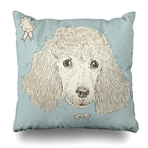 NOWCustom Throw Pillow Cover Grunge Vintage Poodle Dog Domestic Head Wildlife Cute Black Funny Zippered Pillowcase Square Size 18 x 18 Inches Home Decor Cushion Case -
