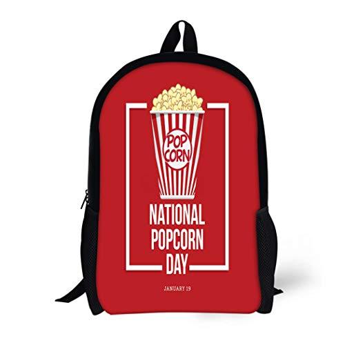 89e1a1879787 Pinbeam Backpack Travel Daypack Red American National Popcorn Day Box  Celebration Circle Waterproof School Bag