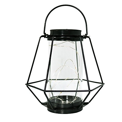 Sunnydaze Outdoor Solar Lantern, Hanging LED Garden Caged String Lights, Decorative Diamond Design, Warm White by Sunnydaze Decor