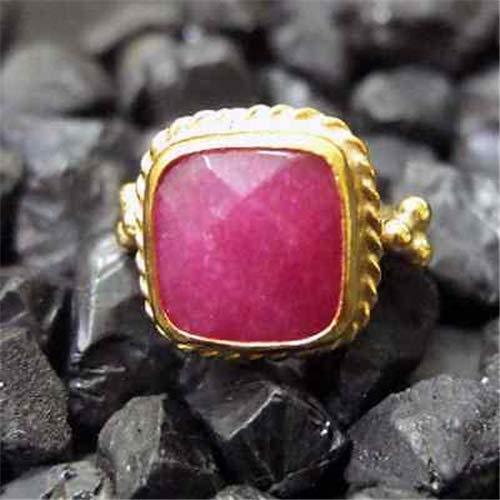 Ancient Design Handmade Hammered Designer Square Ruby Ring 22K Gold Over 925K Sterling Silver ()