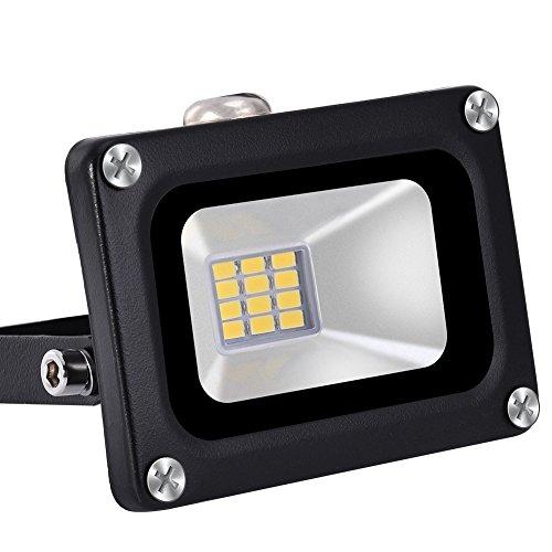 10 Watt High Power LED Flood Light, Coolkun Projector Outdoor Spotlight, Waterproof, SMD Landscape Security Lights (10W Warm)