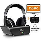 Wireless TV Headphones Over Ear, Monodeal Digital Stereo Headsets with Charging Dock, 2.4GHz