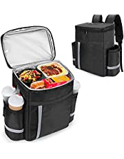 Trunab Insulated Food Delivery Backpack with Side Cup Holders, Leak-Proof Reusable Cooler Bag for Bike Delivery, Uber Eats, Doordash, Beach, Camping,Picnics