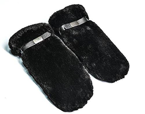(Genuine Jet Black Sheared Beaver Fur Handmade Mittens)