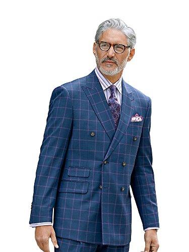 Super 100s Wool Windowpane Peak Lapel Suit Jacket Dusty Indigo 38 Regular ()