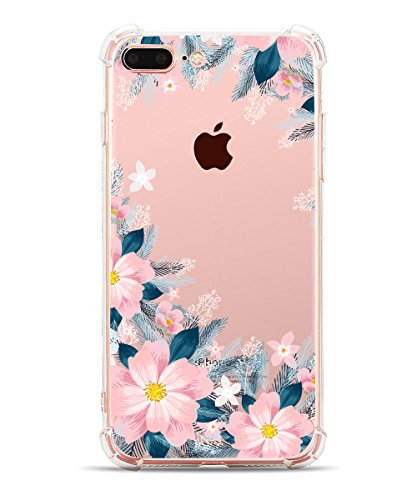 iPhone 7 Plus Case iPhone 8 Plus Case, Hepix Clear Soft Flexible TPU Flowers Floral Print Back Cover for iPhone 7 Plus (2016)/iPhone 8 Plus (2017) [5.5 inch] (Pink Purple Flowers) (Phone Hot Cell Sell)