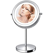 LED Makeup Mirror, 7 Inch Lighted Vanity Swivel Mirror 1x/10x Magnifying Double Sided Mirror With Stand Battery Operated