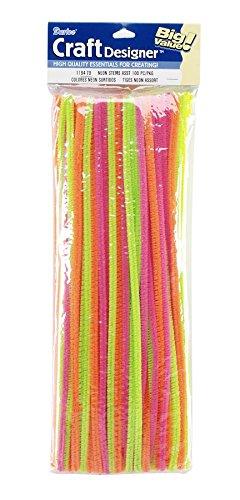 Darice 100 Piece Assorted Chenille Stems, 12, Neon