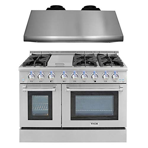 48- 6.7 cu. ft. Free standing Pro-style Dual Fuel Range& 48″ Hood 1200CFM Bundle, Undercabinet Vent, Range with convection oven and infrared griddle in stainless steel