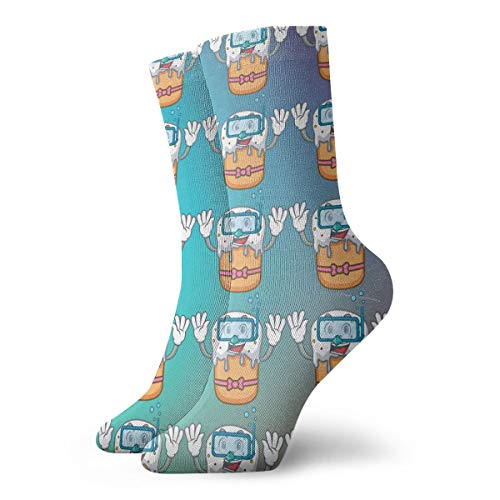 SARA NELL Novelty Funny Crazy Crew Sock Cool Teeth Emoji Say Hai 3D Printed Winter Sport Athletic Socks 30cm Long Personalized Gift Socks