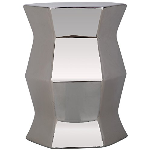 Safavieh Castle Gardens Collection Modern Hexagon Plated Silver Glazed Ceramic Garden Stool (Furniture Bar Club And)
