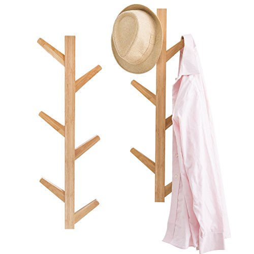 Bamboo Wood Tree (6-Hook Wall Mounted Natural Bamboo Wood Tree Branch Design Coat Rack Hanging Organizer, Set of 2, Beige)