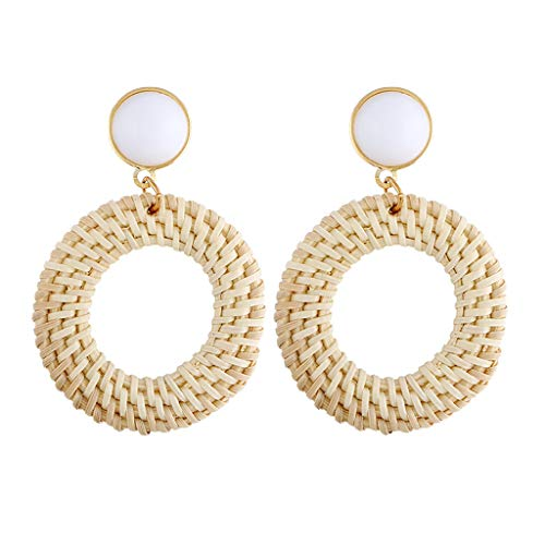 Rattan Earrings Boho Straw Woven Earrings Handmade Wicker Drop Earrings Gift for Girl Women