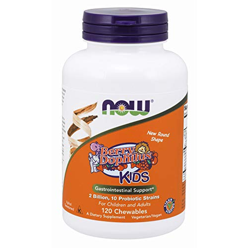 - NOW Supplements, BerryDophilus with 2 Billion, 10 Probiotic Strains, Xylitol Sweetened, Strain Verified, 120 Chewables