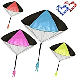 Veliis Tangle Free Throwing Toy Parachute Men No Strings No Batteries.Toss It Up and watch Landing 4 Pieces Set Assorted Colors + 2 Pieces Mini Magic Snake Ruler Assorted Color for Kids and Children