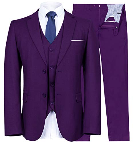 YIMANIE Mens Suit 3 Piece Single Breasted Jacket Two Button Slim Fit Blazer Tux Vest&Trousers, Purple, X-Small