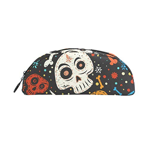 Cartoon Winter Snowflake Skull Bone Pencil Case Large Capacity Semicircle Pen Bag Makeup with Compartments
