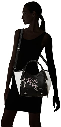 Desigual BOLS_ROTTERDAM Mini Blossom, Sacs Bandoulière Femme, Noir (2000), 15 X 25 X 24 cm