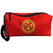 WEEDKEYCAT Flag Of Kyrgyzstan Travel Cosmetic Bag Pen Pencil Portable Toiletry Brush Storage,Multi-function Accessories Sewing Kit Bags Pouch Makeup Carry Case With Zipper