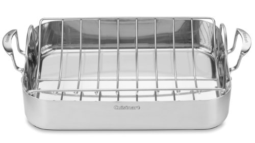 Cuisinart MCP117-16BR MultiClad Pro Stainless 16-Inch Rectangular Roaster with Rack ()