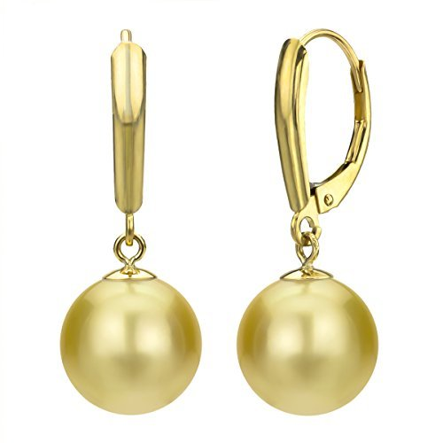14k Yellow Gold 11-11.5mm Round Golden South Sea Cultured High Luster Pearl Lever-back Earrings by La Regis Jewelry