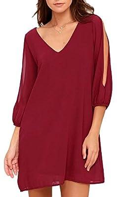 BomDeals Womens Shift Dress, Cute Soft Casual V-Neck Short Sleeves Cold Shoulder Cutout Tunic