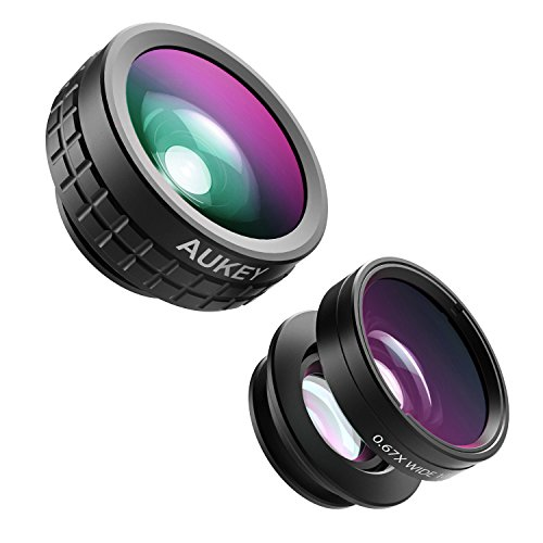 AUKEY Optic iPhone Camera Lens, 180° Fisheye Lens + 110° Wide Angle + 10X Macro Mini Clip-on iPhone Lens Kit for iPhone, Samsung, Android Smartphones