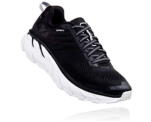 HOKA ONE ONE Mens Clifton 6 Black/White Running Shoe - 9.5