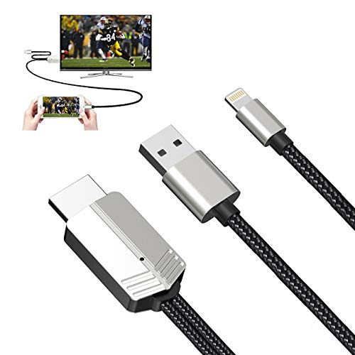 DUTISON Compatible with iPhone to HDMI Cable - 1080P HD Phone to TV Cable Digital AV Adapter for iPhone iPad Connect to TV Projector Monitor -6.6FT Black