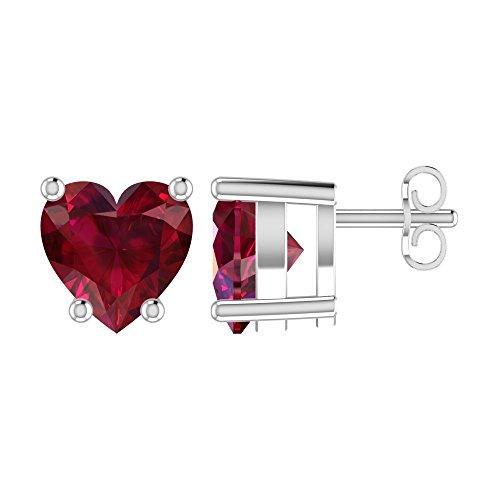 Solid Sterling Silver 5mm Heart Shaped 1.45 Carat Created Ruby Stud Earrings, High Polished Heart Shaped Ruby Earrings with Push Backs