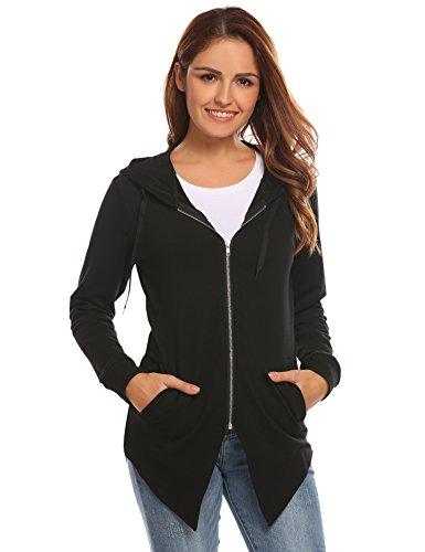 (HOTOUCH Women Hoodie Coat Irregular Casual Zip up Sweatshirt Jacket (Black M))