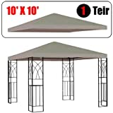 GotHobby 10' X 10' Gazebo Replacement Canopy Top Cover - Beige Color, Single-teir