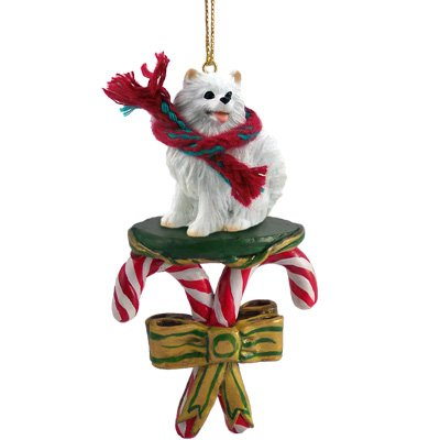 AMERICAN ESKIMO MINIATURE DOG Candy Cane new Christmas Ornament DCC83 by Eyedeal ()