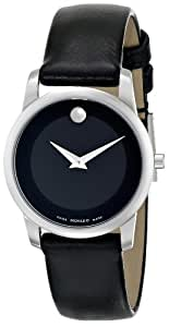 """Movado Women's 0606503 """"Museum"""" Stainless Steel and Leather Strap Watch"""