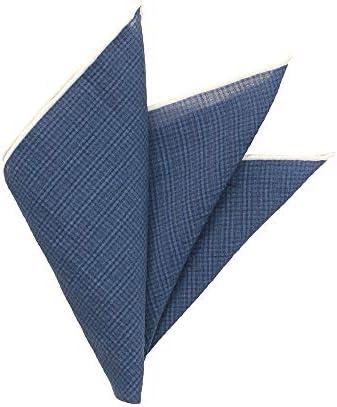 MADE IN ITALY/コットン&シルク ポケットチーフ ブルー×ホワイト