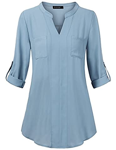 V Neck Blouses for Women,FANSIC Henley Blouse Long Sleeve Front 2 Pockets Office Ladies Business Tops for Work Blue (Long Sleeve Office)