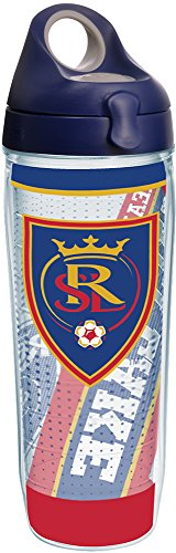 Tervis 1252110 MLS - Real Salt Lake Striker Tumbler with Wrap and Navy with Gray Lid 24oz Water Bottle, Clear by Tervis