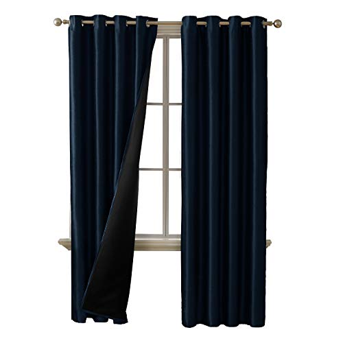 Deconovo Total Blackout Curtains Grommet Thermal Insulated Room Darkening Dupioni Silk Lined Curtains for Living Room 52W x 84L inch Navy Blue 2 Curtain Panels (Curtains Silk Navy)
